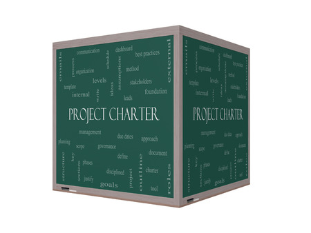 project charter: Project Charter Word Cloud Concept on a 3D cube Blackboard with great terms such as process, leads, method and more.