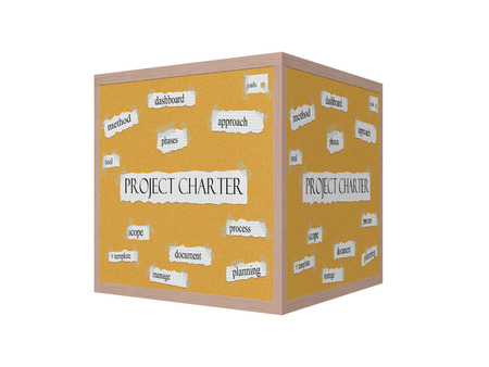 project charter: Project Charter 3D Corkboard Word Concept with great terms such as dashboard, goals, tool and more.