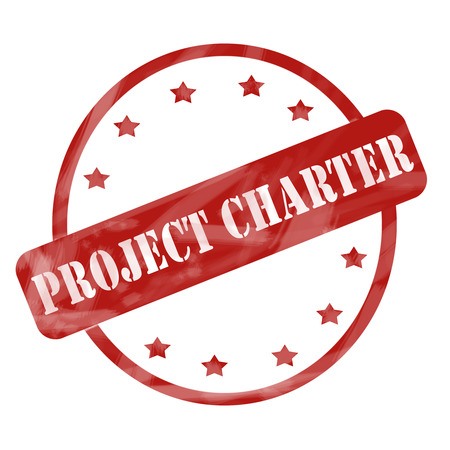 project charter: A red ink weathered roughed up circle and stars stamp design with the word PROJECT CHARTER on it making a great concept.