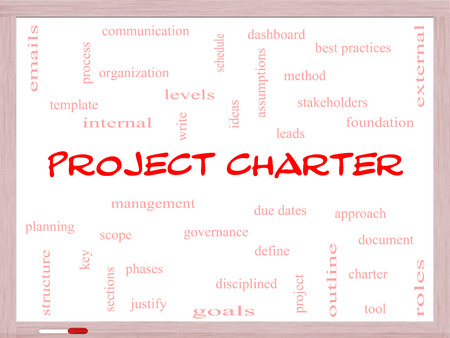 stakeholders: Project Charter Word Cloud Concept on a Whiteboard with great terms such as process, leads, method and more. Stock Photo