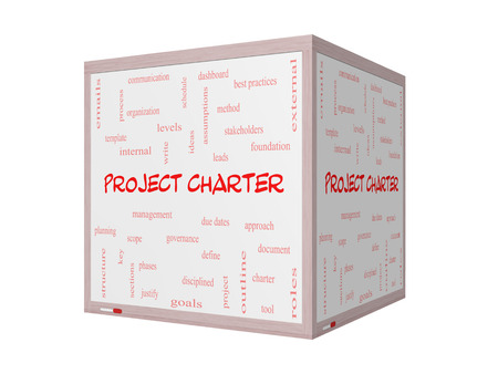 project charter: Project Charter Word Cloud Concept on a 3D Whiteboard with great terms such as process, leads, method and more.
