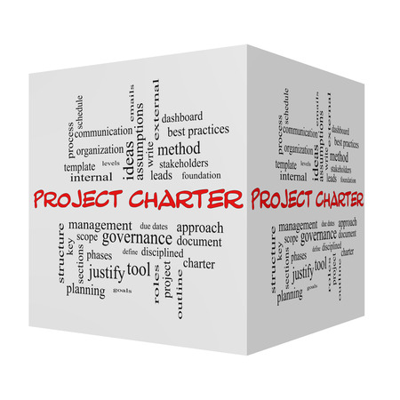 project charter: Project Charter 3D cube Word Cloud Concept in red caps with great terms such as process, leads, method and more.