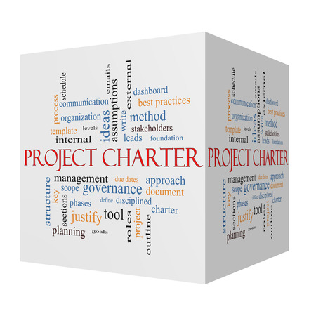 project charter: Project Charter 3D cube Word Cloud Concept with great terms such as process, leads, method and more. Stock Photo