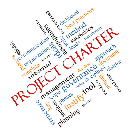 project charter: Project Charter Word Cloud Concept angled with great terms such as process, leads, method and more.