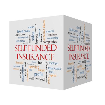 reclamos: Auto Financiado Seguros 3D cubo nube de la palabra con los t�rminos tales como administraci�n, honorarios, espec�ficos, agregada, reclamaciones y m�s.