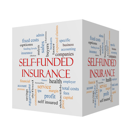 funded: Self Funded Insurance 3D cube Word Cloud with great terms such as admin, fees, specific, aggregate, claims and more. Stock Photo