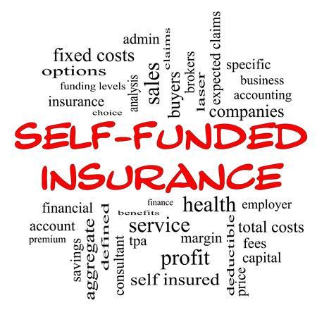 specific: Self Funded Insurance Word Cloud in red caps with great terms such as admin, fees, specific, aggregate, claims and more. Stock Photo