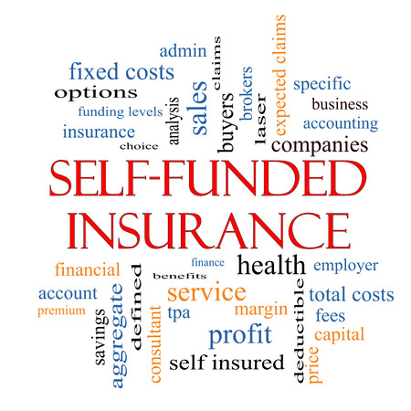 funded: Self Funded Insurance Word Cloud with great terms such as admin, fees, specific, aggregate, claims and more.