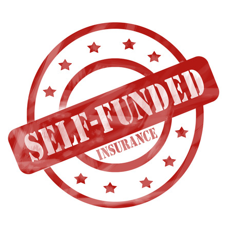funded: Red Self Funded Insurance Circles stamp making a great concept.