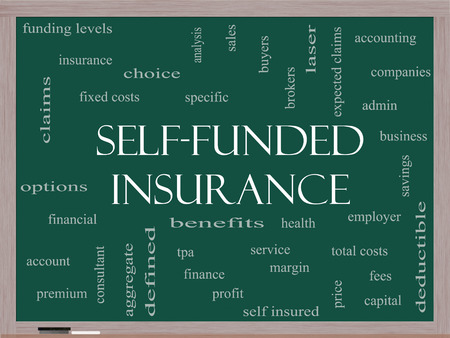 specific: Self Funded Insurance Word Cloud on a Blackboard with great terms such as admin, fees, specific, aggregate, claims and more.