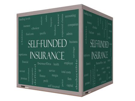 reclamos: Auto Financiado Seguros 3D Nube de la palabra en una pizarra con los t�rminos de la talla de administraci�n, honorarios, espec�ficos, agregada, reclamaciones y m�s.