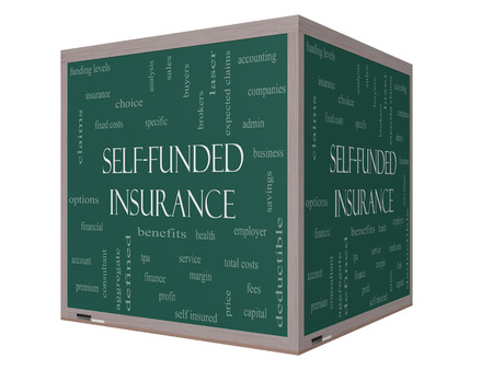 aggregate: Self Funded Insurance 3D Word Cloud on a Blackboard with great terms such as admin, fees, specific, aggregate, claims and more. Stock Photo