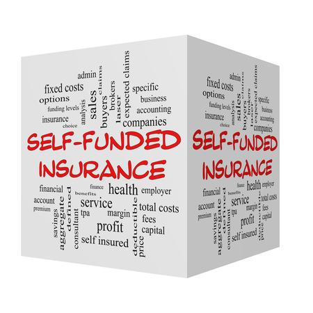 specific: Self Funded Insurance 3D Word Cloud in red caps with great terms such as admin, fees, specific, aggregate, claims and more.