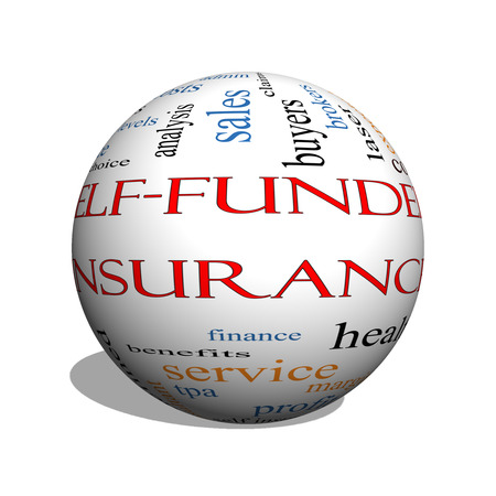 funded: Self Funded Insurance 3D sphere Word Cloud with great terms such as admin, fees, specific, aggregate, claims and more. Stock Photo