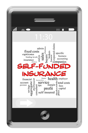 specific: Self Funded Insurance on smart phone concept with great terms such as health, admin, claims, specific and more.