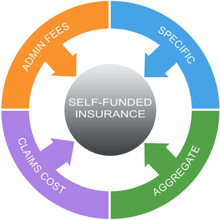 Self Funded Insurance Word Circles Concept with great terms such as admin fees, specific and more.