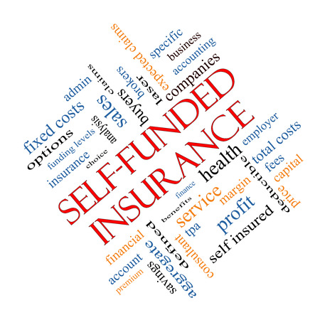 specific: Self Funded Insurance Word Cloud angled with great terms such as admin, fees, specific, aggregate, claims and more.