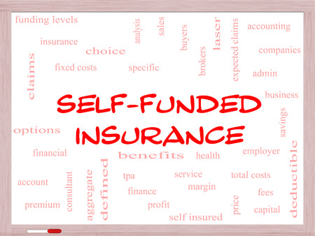 Self Funded Insurance Word Cloud on a Whiteboard with great terms such as admin, fees, specific, aggregate, claims and more. Фото со стока