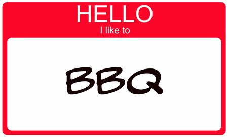 Hallo ik wil rode naamplaatje begrip BBQ Stockfoto