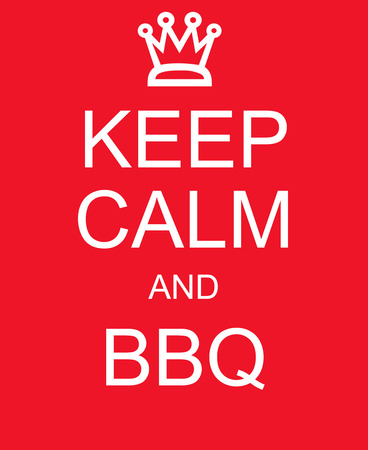 rood teken: Keep Calm and BBQ red sign making a great barbecue concept.