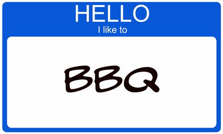 Hallo ik wil blauw naamplaatje begrip BBQ Stockfoto