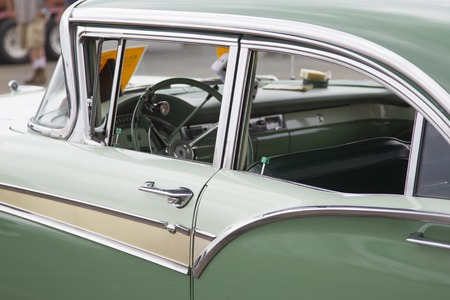 42nd: IOLA, WI - JULY 12:  Interior of 1957 Green Ford Fairlane Car at Iola 42nd Annual Car Show July 12, 2014 in Iola, Wisconsin.