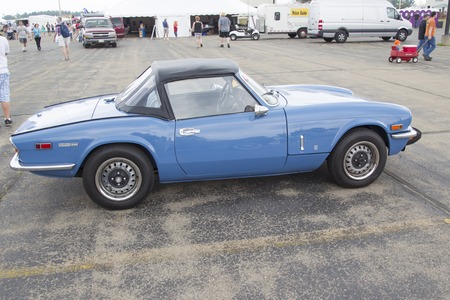 42nd: IOLA, WI - JULY 12:  Blue Triumph Spitfire 1500 Car at Iola 42nd Annual Car Show July 12, 2014 in Iola, Wisconsin. Editorial