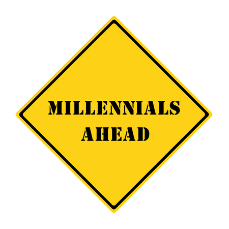 A yellow and black diamond shaped road sign with the words MILLENNIALS AHEAD making a great concept. 版權商用圖片