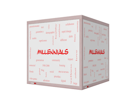 Millennials  Word Cloud Concept on a 3D Whiteboard with great terms such as generation, health, fitness, technology and more.