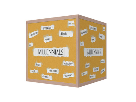 pegboard: Millennials 3D Corkboard Word Concept with great terms such as social, exercise, impact and more.