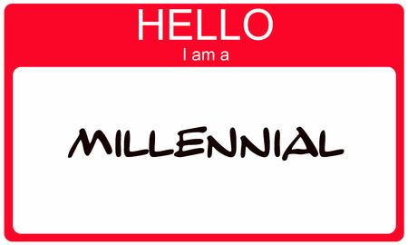 Hello I am a Millennial red name tag concept Standard-Bild