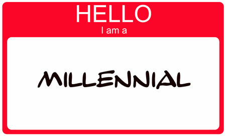am: Hello I am a Millennial red name tag concept Stock Photo