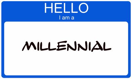millennial: Hello I am a Millennial blue name tag concept