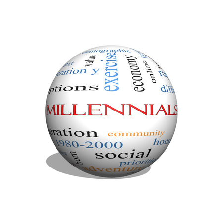 Millennials  3D sphere Word Cloud Concept with great terms such as generation, health, fitness, technology and more.
