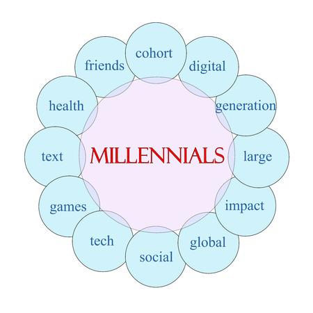 ピンクとブルー デジタル、世代、社会など偉大な条件で新世紀概念の円形の図表。 写真素材
