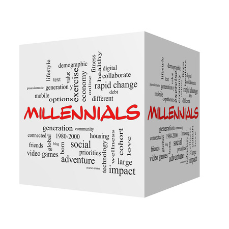 Millennials  3D Word Cloud Concept in red caps with great terms such as generation, health, fitness, technology and more.