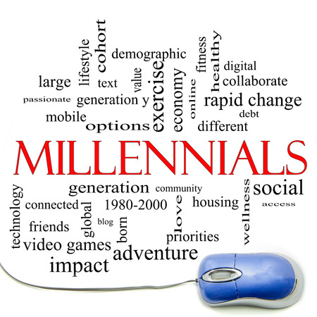 generation y: Millennials  Word Cloud Concept with a mouse and great terms such as generation, health, fitness, technology and more.