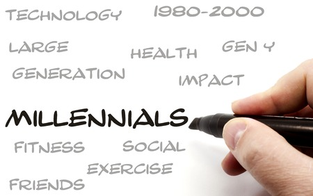 Hand writing Millennials word Concept with great terms such as health, gen y, social and more.