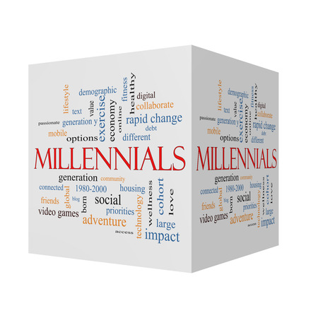 Millennials  3D cube Word Cloud Concept with great terms such as generation, health, fitness, technology and more. Banque d'images