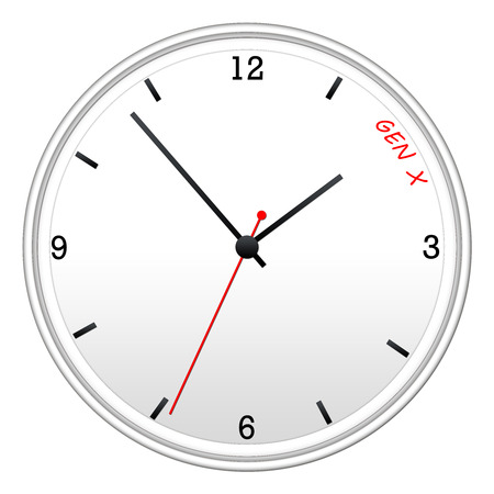 gen: Time for Gen X clock concept with writing on the face of the clock