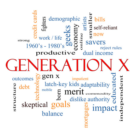 generation x: Generation X Word Cloud Concept with great terms such as now, dual income, gen x and more.