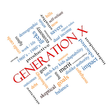 generation x: Generation X Word Cloud Concept angled with great terms such as now, dual income, gen x and more.