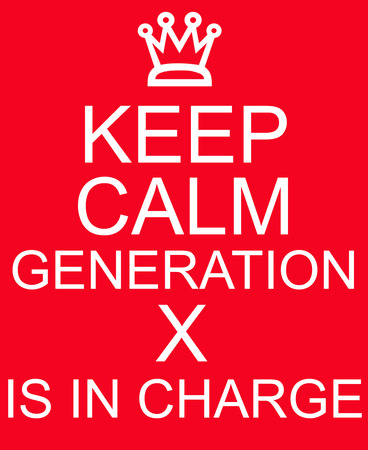 generation x: Keep Calm Generation X is in Charge Red Sign with a crown Stock Photo