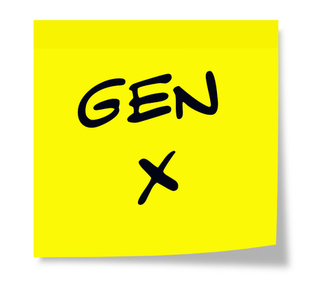 gen: Gen X written on a yellow sticky note making a great concept for Generation X