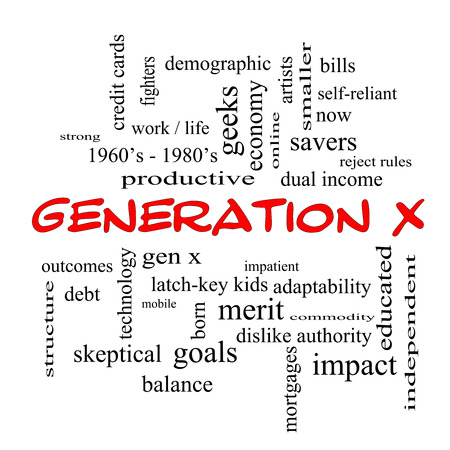 gen: Generation X Word Cloud Concept in red caps with great terms such as now, dual income, gen x and more. Stock Photo