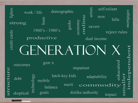 gen: Generation X Word Cloud Concept on a Blackboard with great terms such as now, dual income, gen x and more.