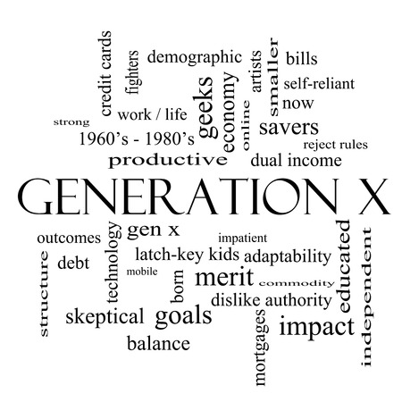 outcomes: Generation X Word Cloud Concept in black and white with great terms such as now, dual income, gen x and more.