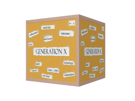 gen: Generation X 3D Corkboard Word Concept with great terms such as now, educated, geeks and more.