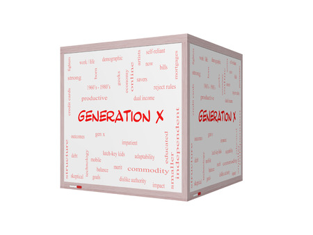 generation x: Generation X Word Cloud Concept on a 3D Whiteboard with great terms such as now, dual income, gen x and more.