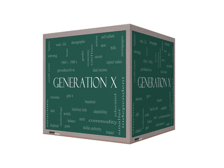 outcomes: Generation X 3D Word Cloud Concept on a Blackboard with great terms such as now, dual income, gen x and more. Stock Photo
